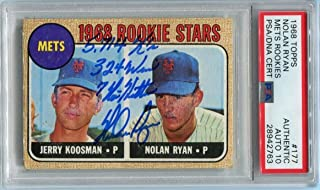Nolan Ryan Signed 1968 Topps Rookie Card #177 RC graded mint 10 autograph - PSA/DNA Certified - Baseball Slabbed Vintage Cards