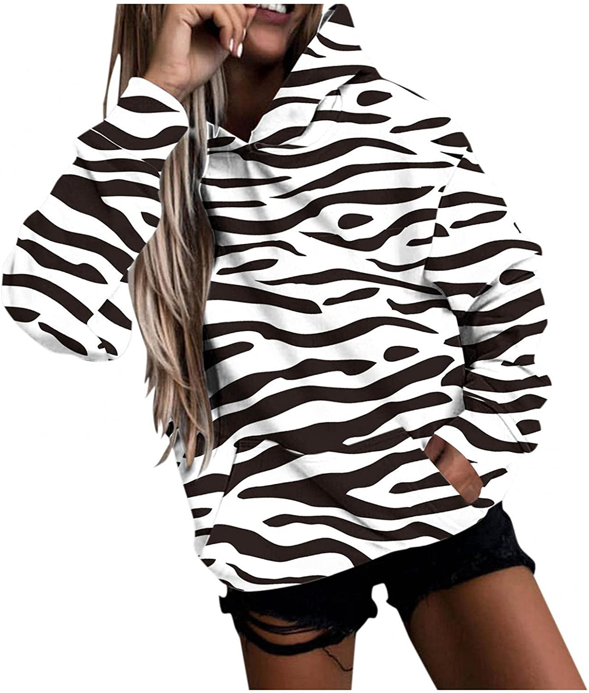 Qisemi Hooded Sweatshirt for Women Stylish Striped Graphic Sweat