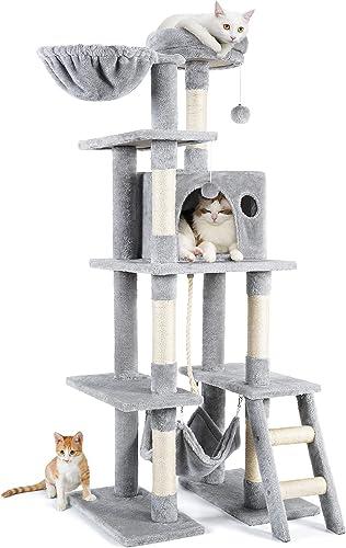 rabbitgoo Cat Tree Cat Tower 155CM Multi-Level Kitten House Condo with Scratching Posts & Hammock, Large Cat Stand Fu...