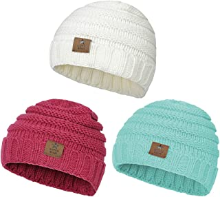 Zando   Winter Baby Beanie Hat Cute Soft Warm Knitted Beanies Infant Toddler Cozy Cap for Boys Girls D 3 Pack White Rose red Lake Blue One Size(6-48 Months)