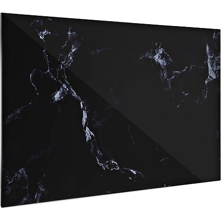 Navaris Pizarra magnética de Cristal - Tablero de Notas de Vidrio - Tablón magnético para tareas con imanes y Soporte - Diseño de mármol en Negro