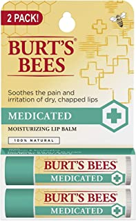 Burts Bees Natural Medicated Moisturizing Lip Balm with Menthol and Eucalyptus 2 Tubes