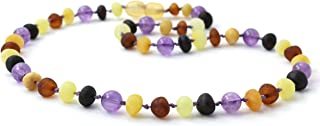 Baltic Amber Adult Necklace Made with Amethyst Beads - Size 21.7 inches (55 cm) - Raw Multicolor Amber Beads - BoutiqueAmber (21.7 inches, Raw Multi/Amethyst)
