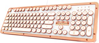 Azio MK-RETRO-L-02-US Retro Classic Posh - USB Luxury Vintage Back lit Mechanical Keyboard (Blue Switch, White Leather, Zinc Alloy Frame) - White/Copper