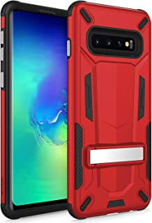 Zizo Transform Series Compatible with Samsung Galaxy S10 Case Dual Layered with Built in Kickstand Slim and Shockproof Red Black