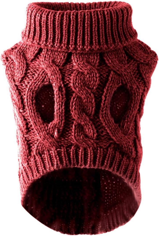 DERCLIVE Ropa para Perros Mascotas Su/éter de Punto de Cuello Alto de Moda Prendas de Punto Prendas de Vestir Negro Rojo Rosa Piel