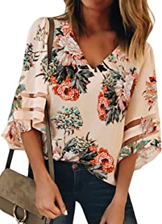 173deaf5 GOSOPIN Women V Neck Tops Loose 3/4 Bell Sleeves Blouse Solid Color Lace  Patchwork