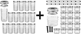 VERONES 15 PACK 12 OZ Mason Jars & 16 PACK 4 OZ Mason Jars Jelly Jars With extra 16 Regular Lids, Ideal for Jam, Honey, We...