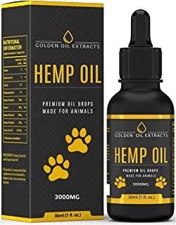 Golden Oil Extractos para Perros y Gatos 3000mg 30 ml Aceite Natural de Cáñamo Infusión Gotas con Omega Liquid 3, 6 y 9 Aceite de Pescado