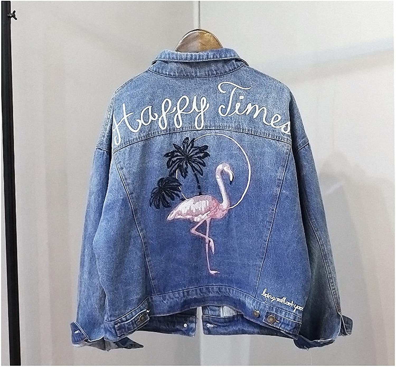 Hiuwa Womens Denim Jacket Short Coat Back Pink Flamingos Embroidered Loose