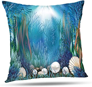Darkchocl Decorative Throw Pillow Covers Underwater with Seaweed Treasure Ocean Shell Seashell Square Pillowcase Cushion for Couch Sofa Bed Cotton and Polyester 18 x 18 Inch