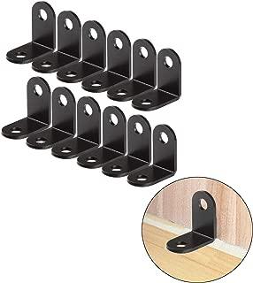 VintageBee 12 PCS Black Corner Braces, 1.02 x 1.02 x 0.63 inch Small Metal L Corner Bracket Joint Fastener, 90 Degree Angle Bracket for Wood, Shelves, Furniture, Cabinet and More