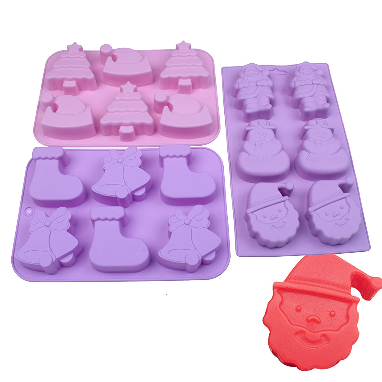 BAKER DEPOT Silicone Molds For Cake Candy Chocolate Jello Pudding Christmas Series Tree Snowman Hat Bell Stocking Shape Etc Silicone Handmade Soap Mold baking tool DIY Candle Mould, set of 3