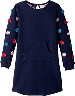 Navy Pom Quilted Kanga Dress (Toddler/Little Kids/Big Kids)
