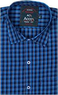 Accox Men's Cotton Half Sleeves Regular Fit Check Formal Shirt