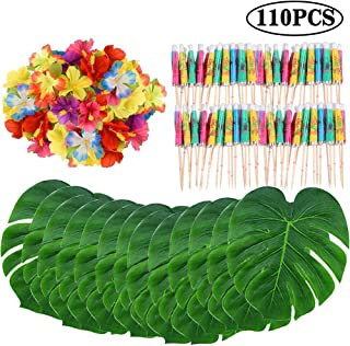 110 Pieces Tropical Palm Monstera Leaves and Artificial Hibiscus Flowers, Tropical Party Decoration Supplies with Umbrella Cocktail Stick for Hawaiian Party, Birthday, Jungle Beach Theme Table Decor