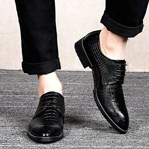 SCSY-Chaussures Oxford Chaussures en Cuir véritable de de de Mode pour Hommes, Texture de Peau de Crocodile (Couleur   Noir, Taille   41 EU) b52