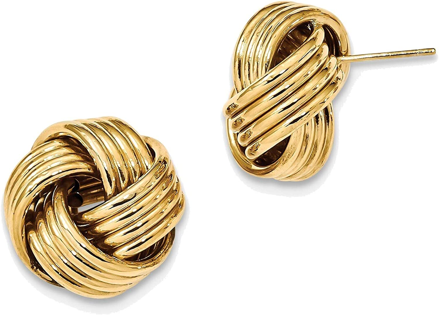 Polished Love Knot Post Earrings in 14K Yellow Gold
