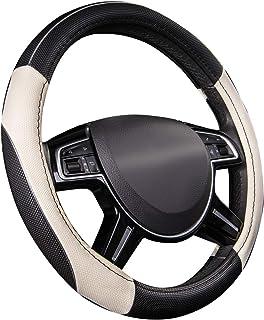 CAR Pass Lenkradbezug aus Leder, universal passend, atmungsaktiv, rutschfest, Lenkradschutz