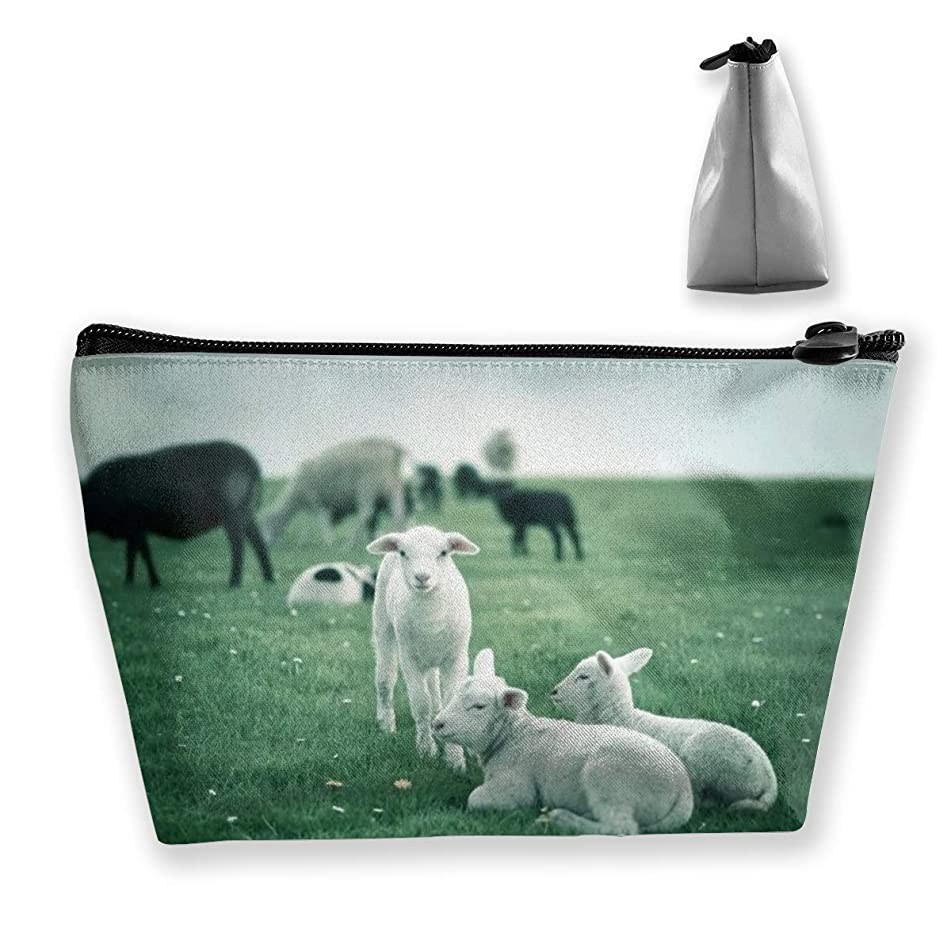 Trapezoidal Cosmetic Bags Makeup Toiletry Pouch Sheep Picture Travel Storage Bag Phone Purse