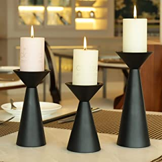 Black Candle Holders Set of 3 - Metal Candle Holders for Pillar Candles - 3 Pillar Candle Holder Centerpiece - Pillar Cand...