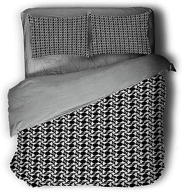 Flyerer Black and White Tile Bed Lining Light Comforter Queen