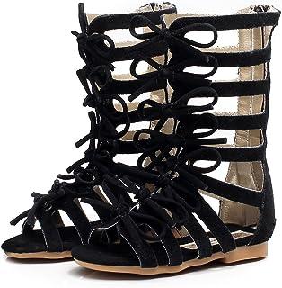 06c23ca5ac76 Children Girls Roman Zipper Bowknot Knee-High Gladiator Sandals Summer Boots