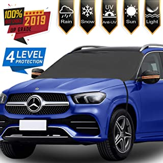 [2019 Newest] Car Windshield Snow Cover with Mirror Snow Covers, 4 Layers Material Protection Large Size 86