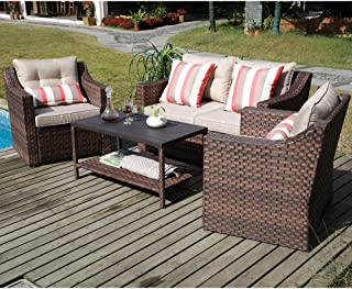 SUNSITT 4-Piece Patio Conversation Set All Weather Woven Brown Wicker Furniture Beige Cushions & Coffee Table w/Aluminum Top