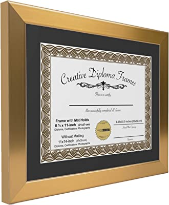CreativePF [11x14cop] Brushed Brass/Gold Picture Frame with Black Matting Holds 8.5 by 11-inch Graduation Documents with Installed Wall Hanger and Easel Back