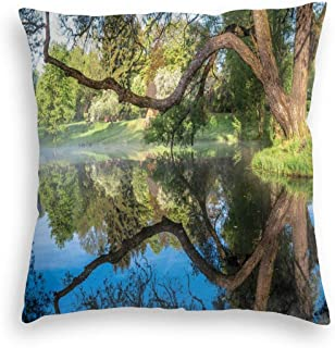 GULTMEE Velvet Soft Decorative Square Accent Throw Pillow Covers Cushion Case,Mirror Surface of The Pond with A Haze of Fog Branches Stretched Over The Water,for Sofa Bedroom Car 22IN