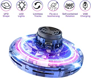 Flying Toy, Hand Operated Drones for Kids or Adults - Scoot Hands Free Mini UFO Drone Helicopter with 360° Rotating and Shinning LED Lights, Novelty Toy Boomerang Gift for Kids or Friends. (Blue)