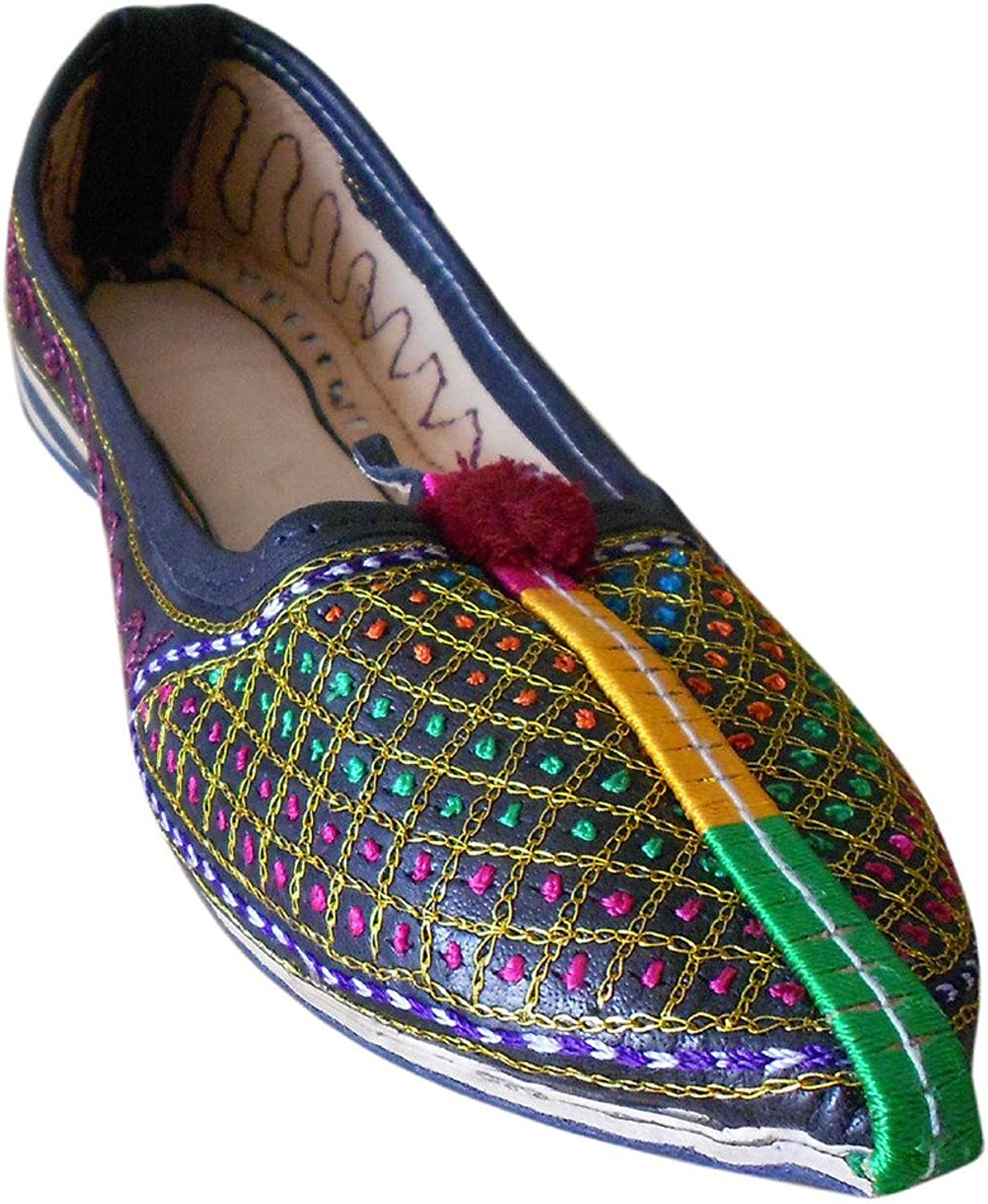 Kalra Creations Women's Traditional Indian Leather with Embroidery Party shoes