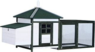 "PawHut 77"" Wooden Backyard Chicken Coop Kit with Nesting Box and Run - White/Green"