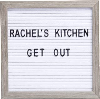 Sheffield Home Felt Letter Board with Distressed Wood Frame, 12x12 Inch Changeable Message Board with 148 White Letters an...