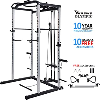 Vanswe Power Rack Power Cage Home Gym Equipment Exercise Stand Olympic Squat Cage with LAT Pull Attachment, Multi-Grip Pull-up Bar and Dip Handle