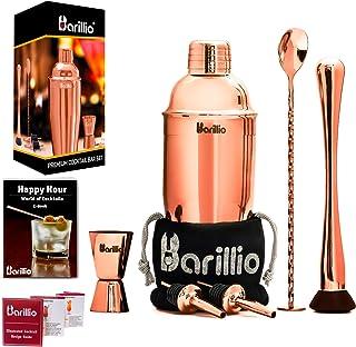 Rose Copper Cocktail Shaker Set Bartender Kit by BARILLIO: 24 oz Stainless Steel Martini..