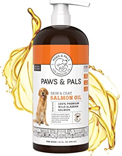 Paws & Pals Wild Alaskan Salmon Oil for Dogs & Cats - 100% Pure Fish Oil Liquid Food w/Omega 3 & Natural EPA + DHA - Skin ...