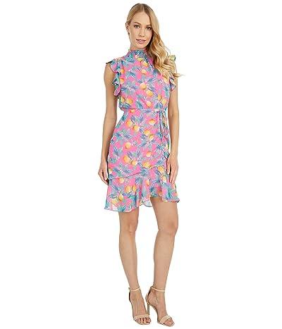 Sam Edelman High Neck Smocked Dress (Pink Multi) Women