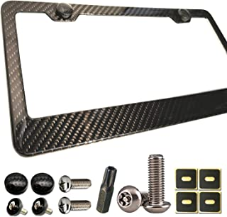 BGGTMO Carbon Fiber License Plate Frame - 100% Real Carbon Fiber Overlays Aluminum License Plate Frames | Stainless Steel Anti-Theft License Plate Screws | CF Screw Caps | 1PC Black Gloss Plate Frame