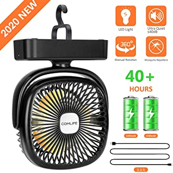 REENUO USB Camping Portable Tent Fan with LED Lights 40 Hour