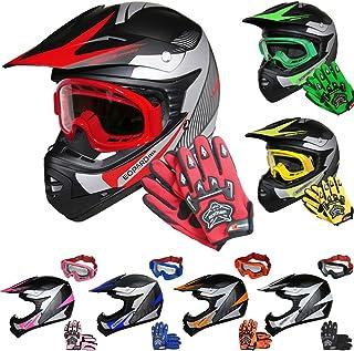 Leopard LEO-X19 Kinder Motocross MX Helm  Motorradhelm  Handschuhe  Brille ECE Genehmigt Crosshelm Kinderquad Off Road Enduro Sport