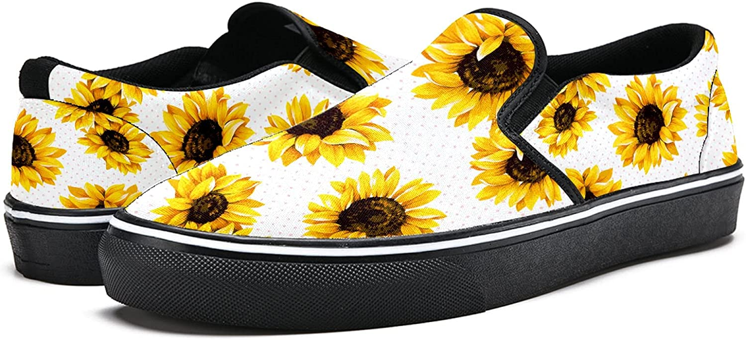Men's Classic Slip-on Canvas Shoe Fashion Sneaker Casual Walking Shoes Loafers 8 Sunflower Picture