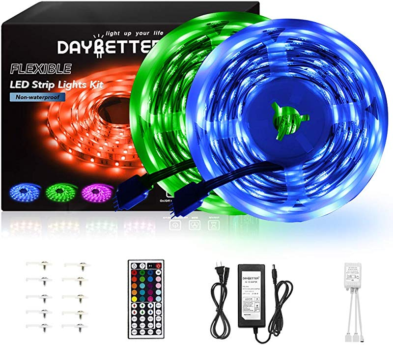DAYBETTER Led Strip Lights 32 8ft 10m With 44 Keys IR Remote And 12V Power Supply Flexible Color Changing 5050 RGB 300 LEDs Light Strips Kit For Home Bedroom Kitchen DIY Decoration