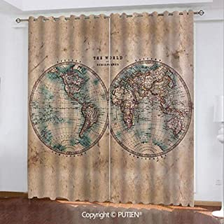 Satin Grommet Window Curtains Drapes [ World Map,The World in Hemispheres Vintage Old Map Design Geography History Theme,Burly Wood Tan Blue ] Window Curtain for Living Room Bedroom Dorm Room Classroo