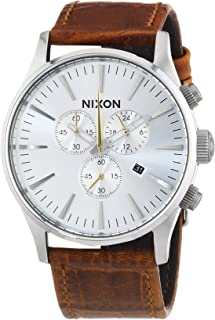 NIXON Men's 'Sentry' Quartz Stainless Steel and Leather Casual Watch, Color:Brown (Silver dial ) (Model: A405-1888)