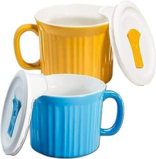 Corningware 20-oz Pop-ins Mug Set Includes 2 Mugs with Vented Plastic Lids (Pool Blue & Sunflower)