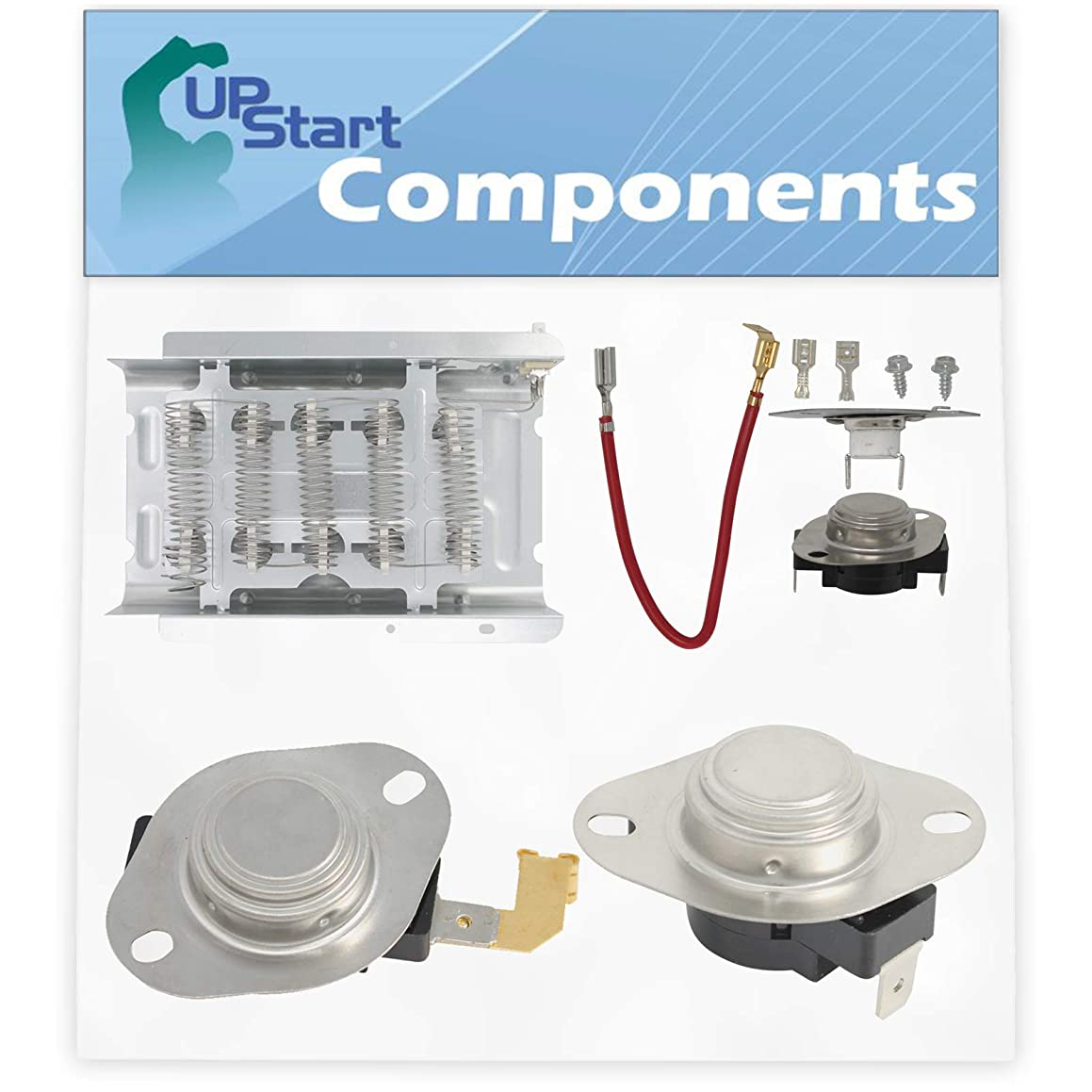 279838, 279816, 3392519 & 3977767 Dryer Heating Element & Thermostat Combo Pack Replacement for Whirlpool IJ82002 Dryer - Compatible Heater Element & Thermostat Kit