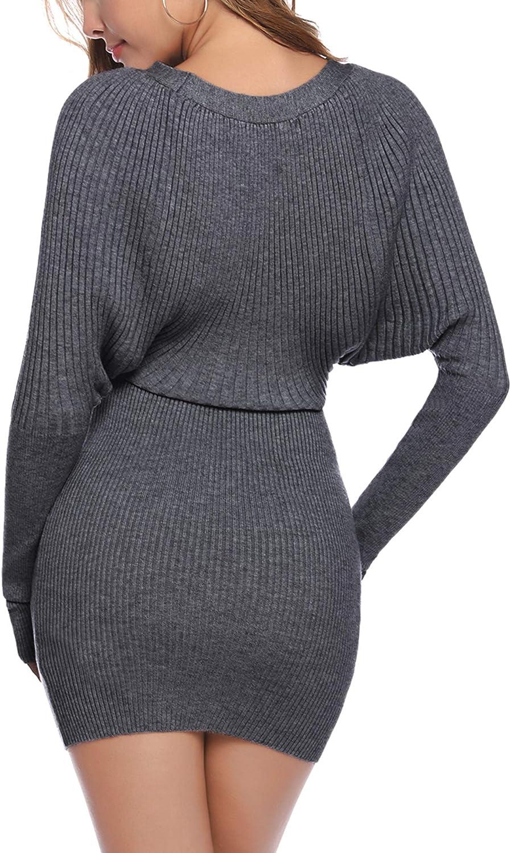 Aibrou Vestito Maglioni Donna Girocollo Manica a pipistrello Eleganti Vestiti in Maglia Invernali Mini Abito