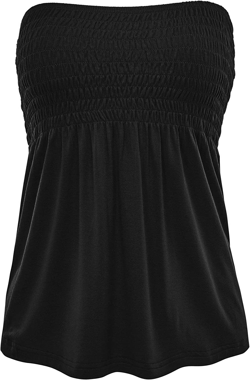 FashionMille Womens Casual Strapless Babydoll Tube top Shirt Blouse Tank Cami